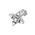 Diamond Nose Pin 0.10Ct Round Shape Natural Certified Solid White Gold